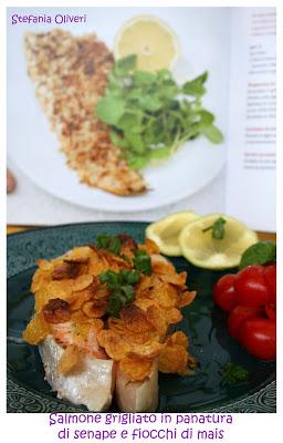 Salmone grigliato in panatura di senape e fiocchi di mais gluten free - Cardamomo & co
