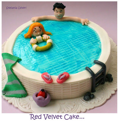 torta pasta di zucchero piscina