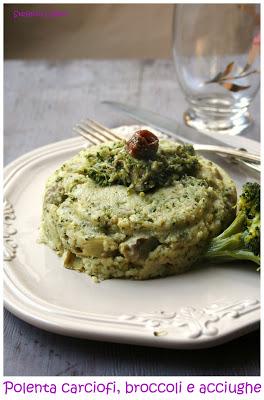 Polenta con carciofi broccoletti e acciughe - Cardamomo & co