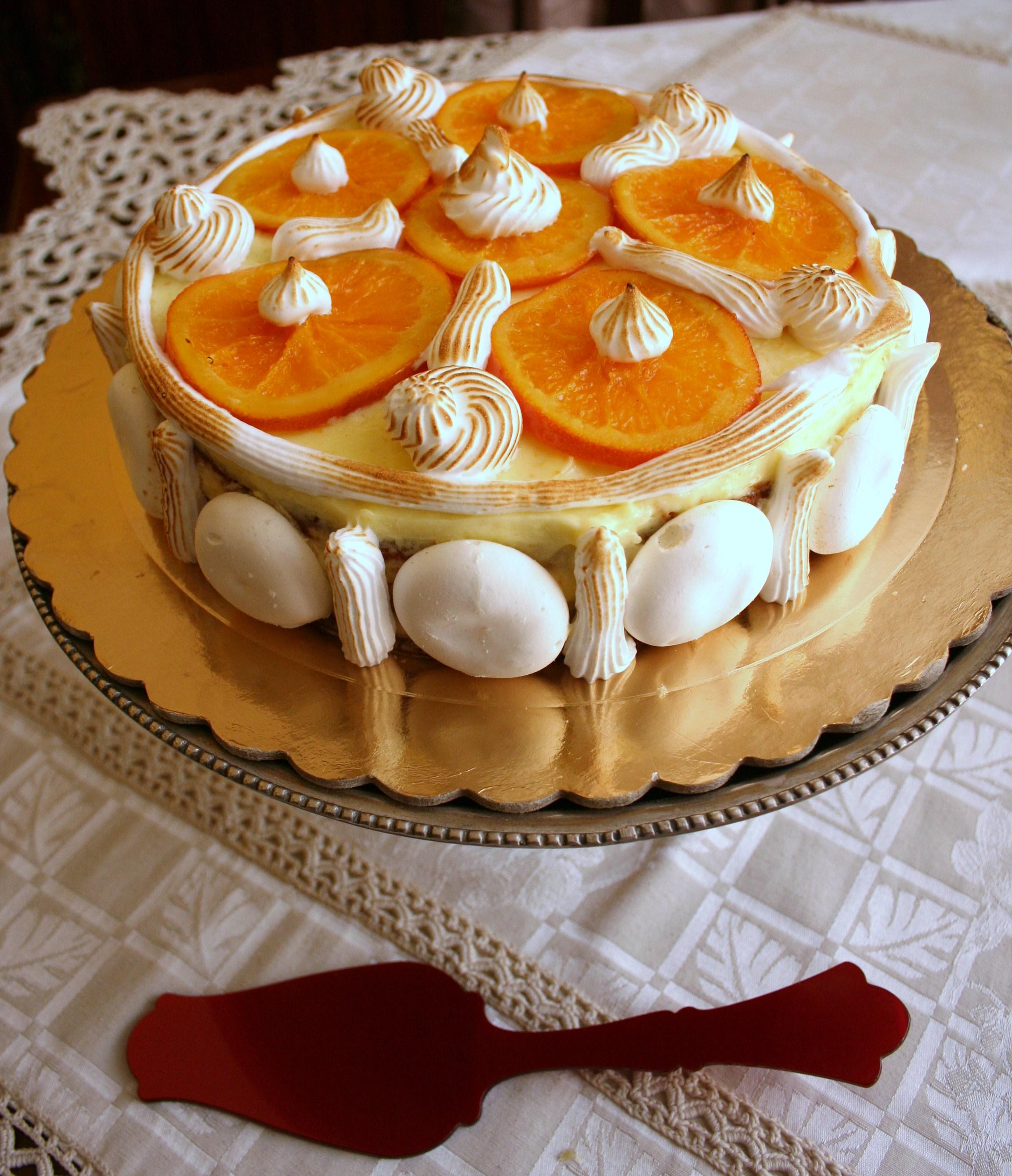 Torta al cioccolato bianco con chiboust all'arancia e arance caramellate - Cardamomo & co