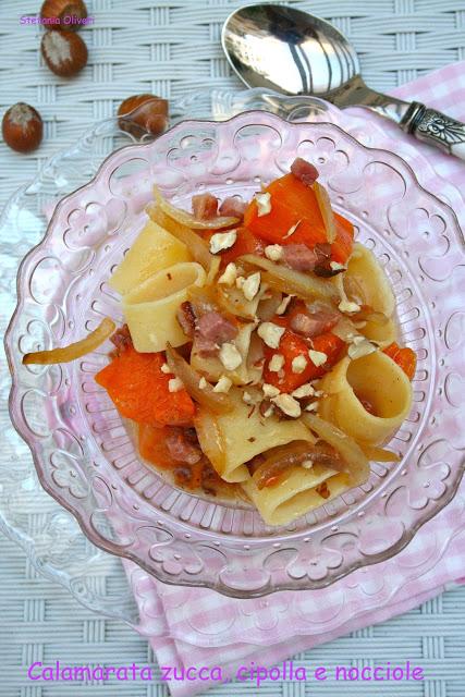 calamarata zucca, cipolle, pancetta - Cardamomo & co