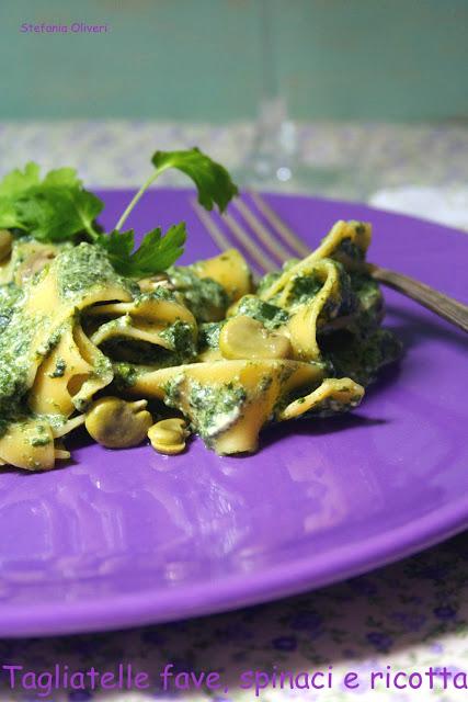 Pasta con fave, ricotta e spinaci