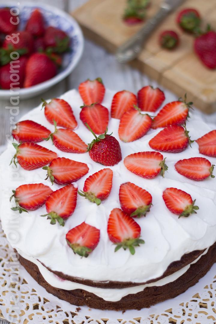 Torta cioccolato crema yogurt e fragole 2946